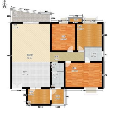 金裕青青家园3室0厅2卫1厨166.00㎡户型图