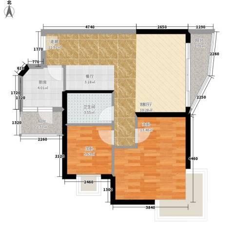珠岛花园项目2室1厅1卫1厨65.00㎡户型图