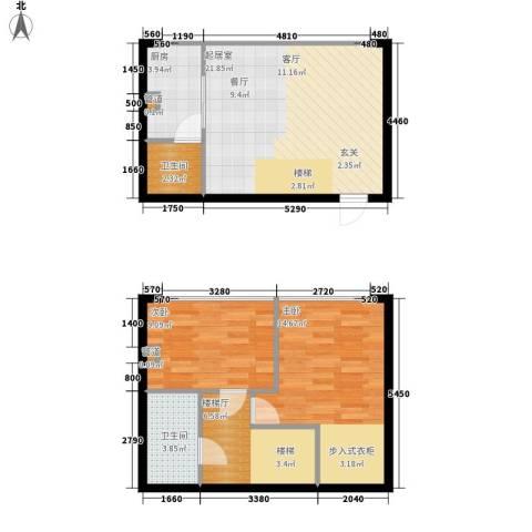 鑫秋大厦2室0厅2卫1厨62.49㎡户型图