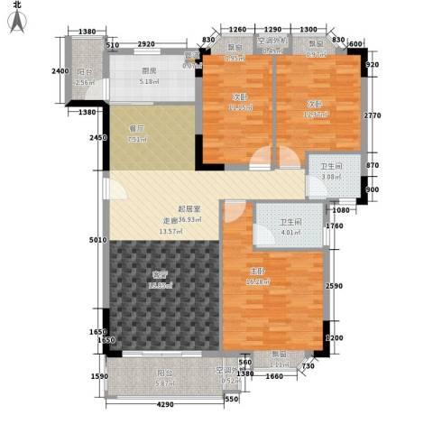 保利紫薇花园3室0厅2卫1厨109.00㎡户型图