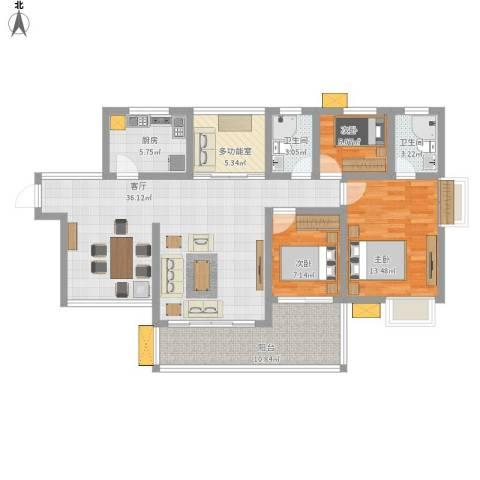 鑫月城3室1厅2卫1厨106.00㎡户型图