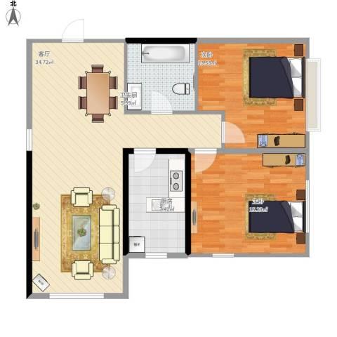 华茂中心2室1厅1卫1厨105.00㎡户型图
