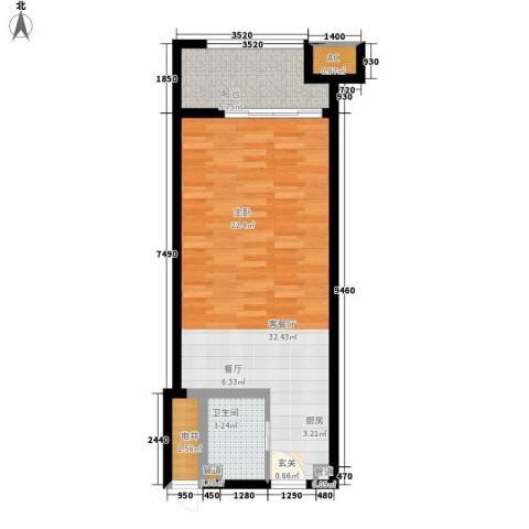 乐城半岛1厅1卫0厨60.00㎡户型图