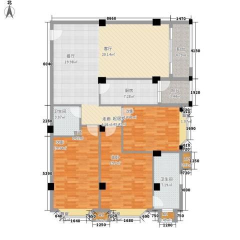 亚太新城3室0厅2卫1厨136.00㎡户型图