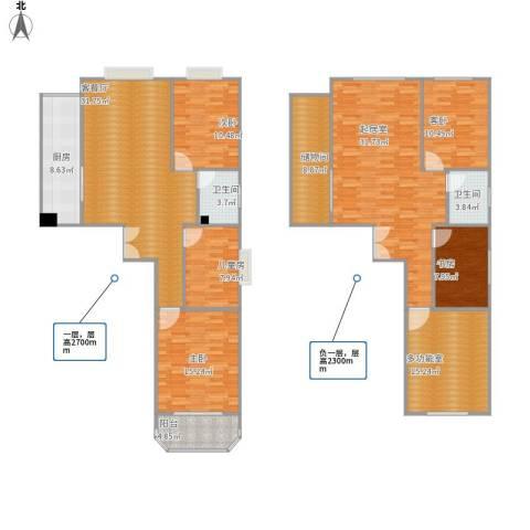 西钦帝景文院5室1厅2卫1厨216.00㎡户型图