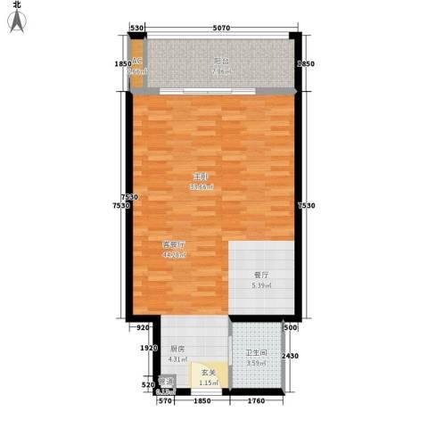 乐城半岛1厅1卫0厨78.00㎡户型图