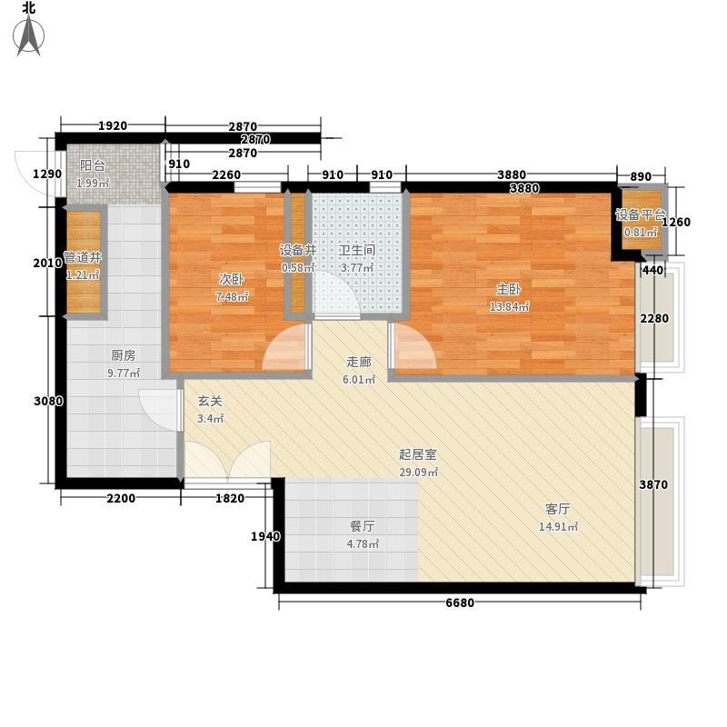 天津富力中心90.85㎡高层标准层中区10户型