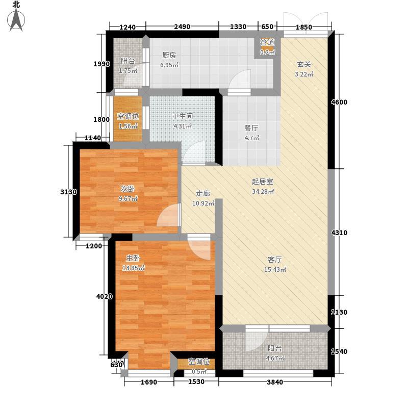 枫林天下90.82㎡二期12#、13#楼中间户B户型