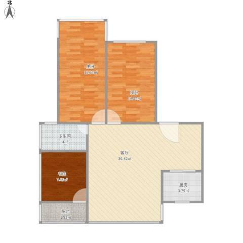 暨南大学教工宿舍3室1厅1卫1厨103.00㎡户型图
