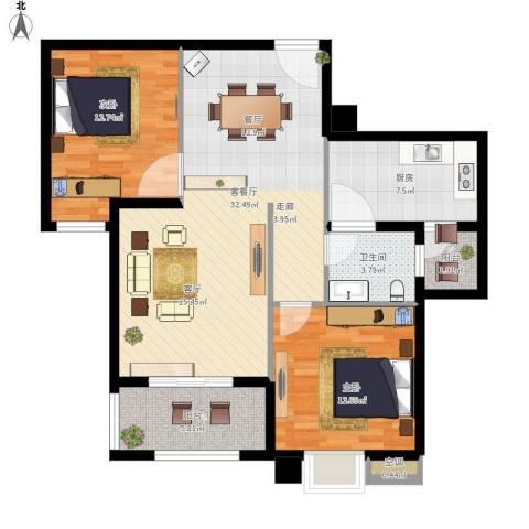 中锐星尚城2室1厅1卫1厨110.00㎡户型图