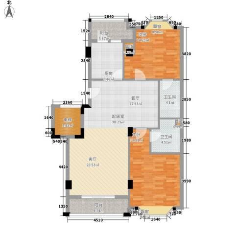 亚太新城2室0厅2卫1厨108.00㎡户型图