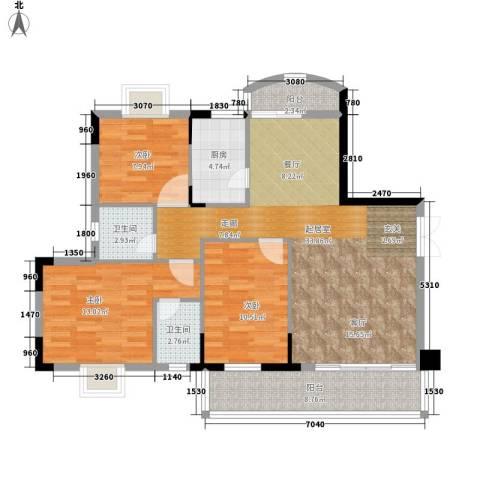 豪景新苑3室0厅2卫1厨97.97㎡户型图
