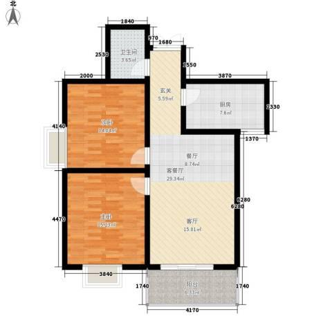 盛世华庭2室1厅1卫1厨93.00㎡户型图