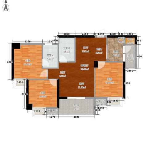 东城国际3室1厅2卫1厨119.00㎡户型图