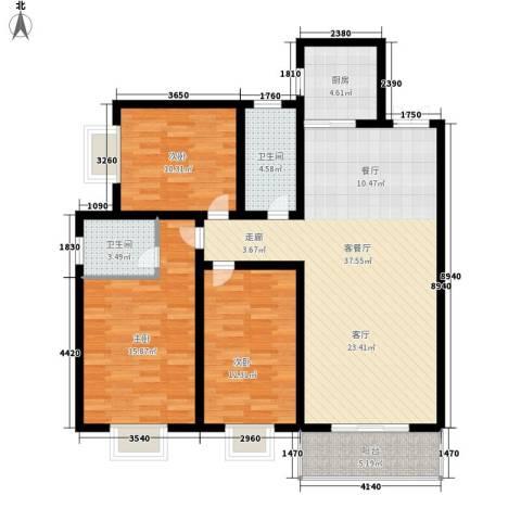 盛世华庭3室1厅2卫1厨133.00㎡户型图