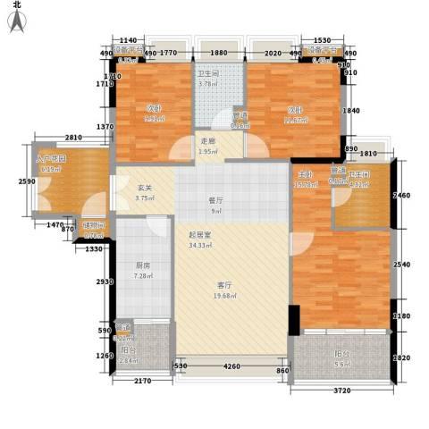 时代玫瑰园3室0厅2卫1厨117.00㎡户型图