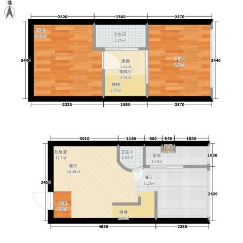 鑫秋大厦2室0厅2卫1厨51.00㎡户型图
