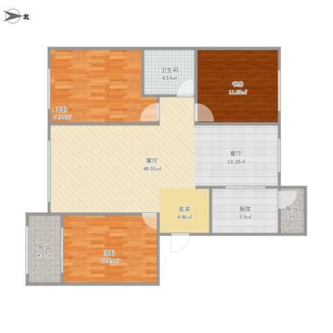 阳光乘风新城3室1厅1卫1厨129.00㎡户型图