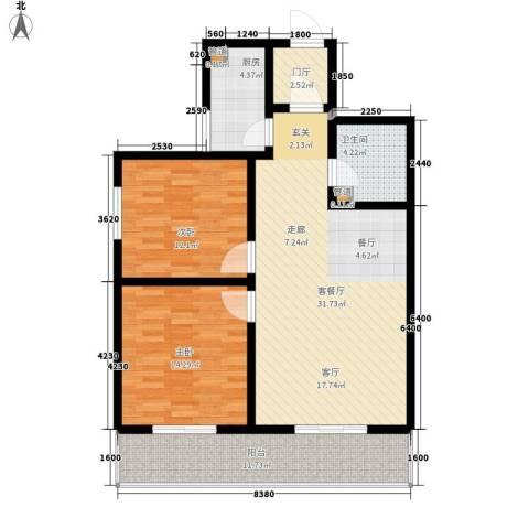 银凯家园2室1厅1卫1厨89.00㎡户型图