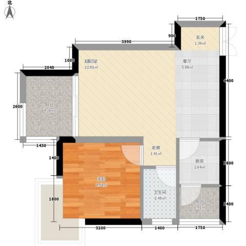 银河怡园公馆1室0厅1卫1厨60.00㎡户型图