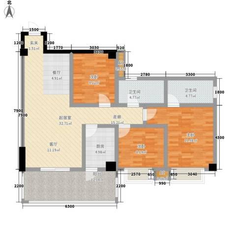 泛林格兰晴天3室0厅2卫1厨107.28㎡户型图