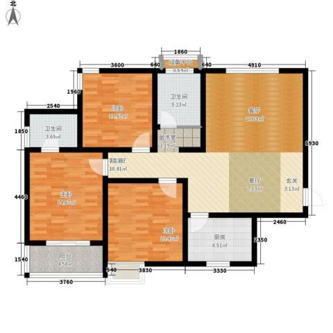 鼎正庆化苑3室1厅2卫1厨116.00㎡户型图