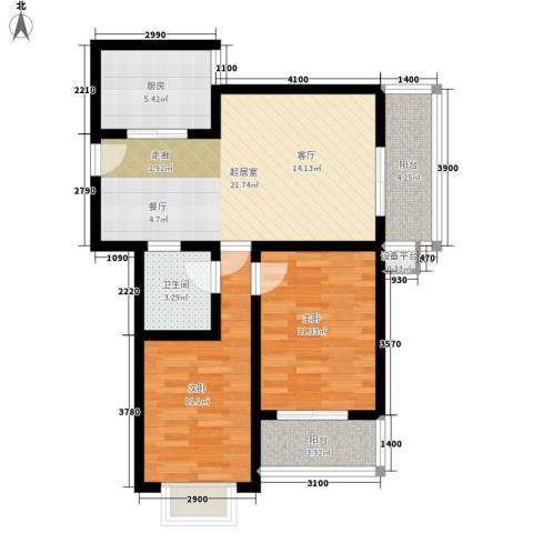 国风2室0厅1卫1厨90.00㎡户型图