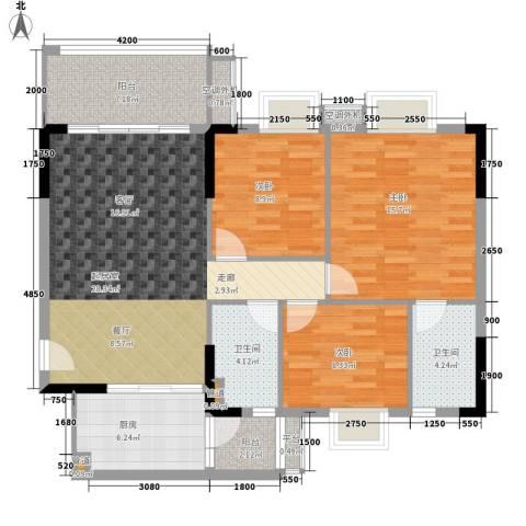 保利紫薇花园3室0厅2卫1厨106.00㎡户型图