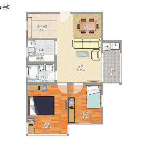 华夏花园2室1厅1卫1厨76.00㎡户型图