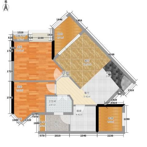 时代玫瑰园2室0厅1卫1厨71.00㎡户型图
