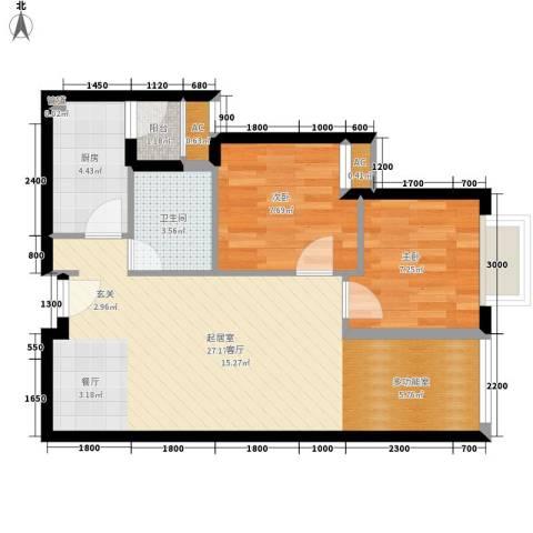 COSMO广场2室0厅1卫1厨57.00㎡户型图