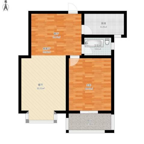东方世纪城1室1厅1卫1厨96.00㎡户型图