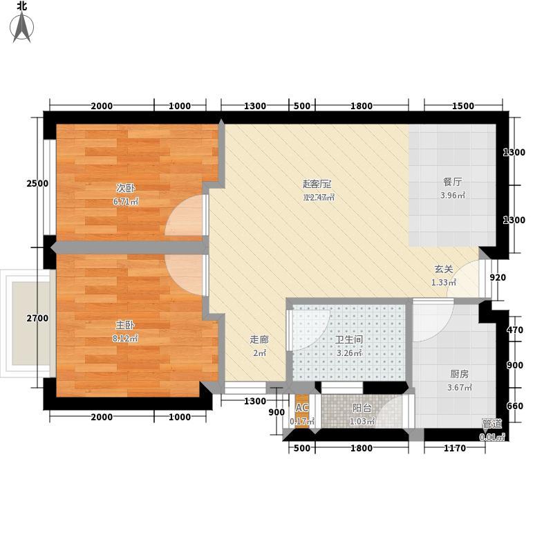 COSMO广场59.36㎡1、2栋标准层E面积5936m户型