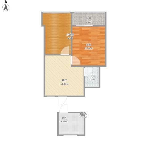 流水东苑1室1厅1卫1厨55.00㎡户型图