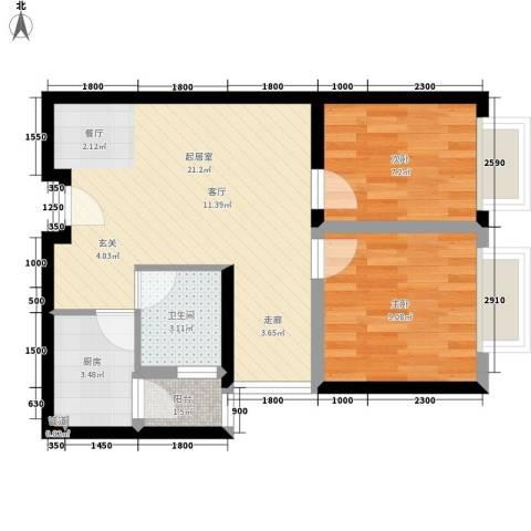 COSMO广场2室0厅1卫1厨66.00㎡户型图