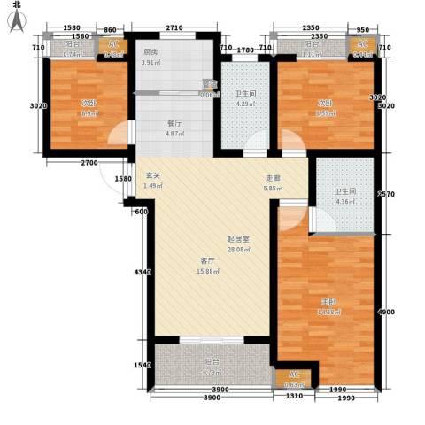 乐城半岛3室0厅2卫1厨119.00㎡户型图