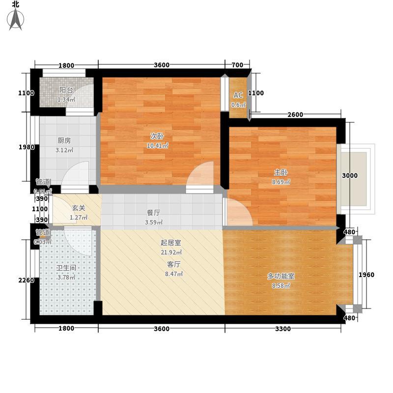 COSMO广场66.90㎡1、2栋标准层A面积6690m户型