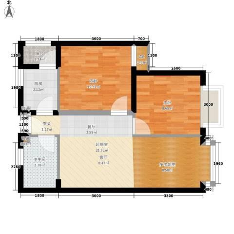 COSMO广场2室0厅1卫1厨67.00㎡户型图