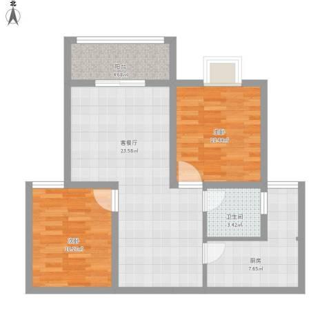 城改蜀湖湾2室1厅1卫1厨87.00㎡户型图