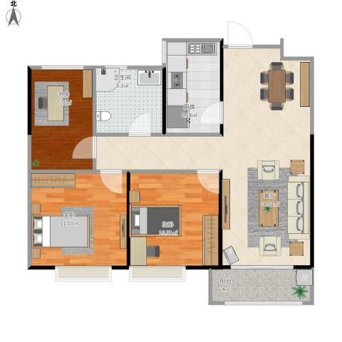 金地自在城别墅3室1厅1卫1厨99.00㎡户型图