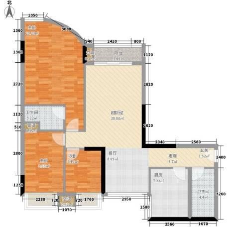 白云骏景家园3室0厅2卫1厨108.00㎡户型图