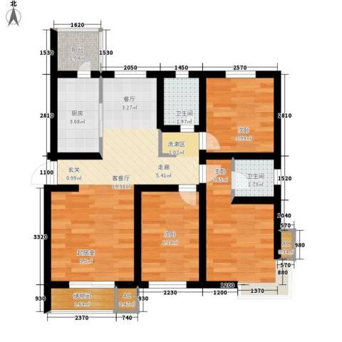 天房峰阁3室1厅2卫1厨78.00㎡户型图