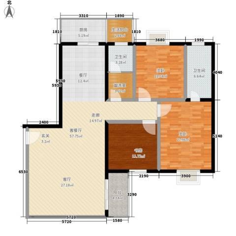 银凯家园3室1厅2卫1厨135.00㎡户型图