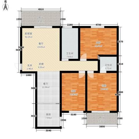 安驰国际3室0厅2卫1厨139.00㎡户型图