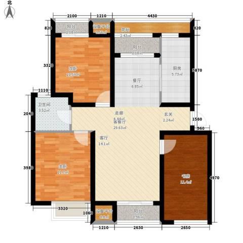 龙泉南里3室1厅1卫1厨81.58㎡户型图