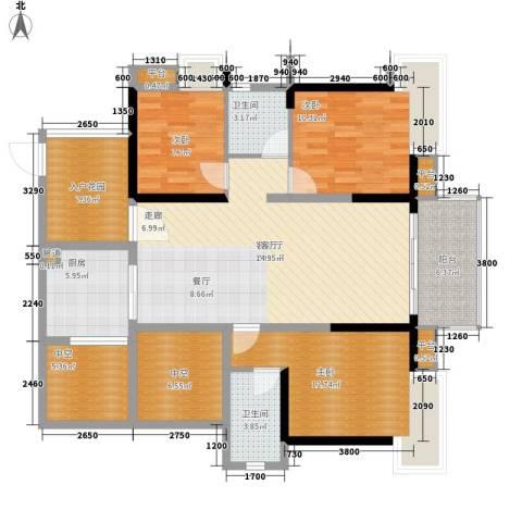 番禺云山诗意3室1厅2卫1厨116.00㎡户型图