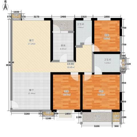 紫薇田园都市3室0厅2卫1厨121.00㎡户型图
