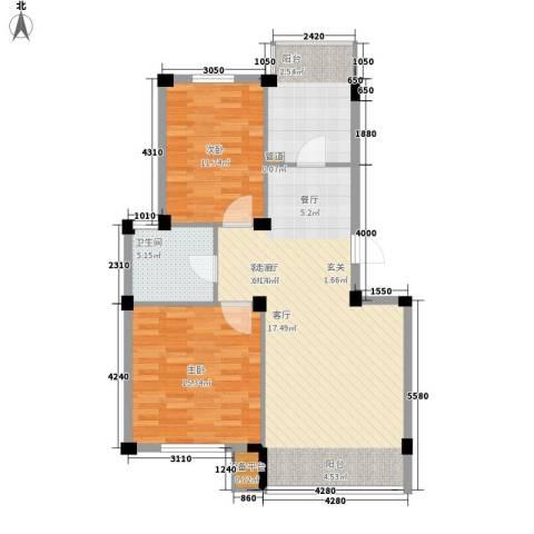 龙泽尚品2室1厅1卫1厨84.00㎡户型图