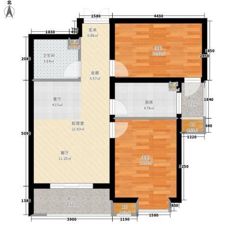 乐城半岛2室0厅1卫1厨89.00㎡户型图