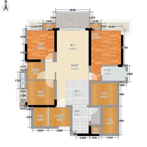 番禺云山诗意3室1厅2卫1厨113.00㎡户型图